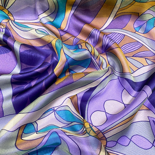 100% Silk chiffon fabric with floral print