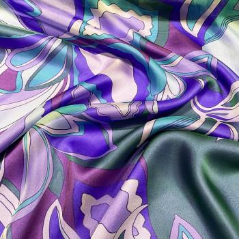 Tissu mousseline 100% soie imprimé floral