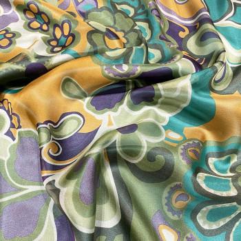 100% Silk chiffon fabric with floral print