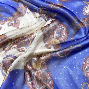 Tissu mousseline 100% soie imprimé paisley bleu