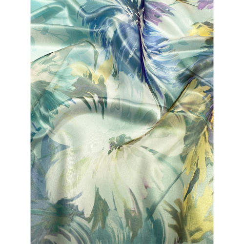 Tissu organza 100% soie imprimé floral