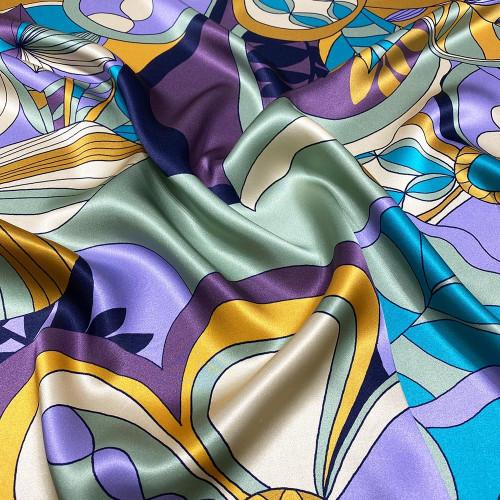 Tissu satin 100% soie imprimé floral