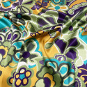 100% silk satin fabric with floral print