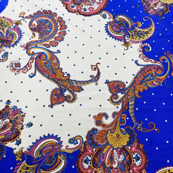 100% silk satin fabric with blue paisley print