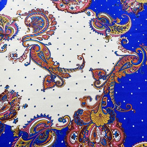 100% silk satin fabric with blue paisley print