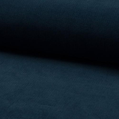 Tissu velours côtelé 100% coton bleu indigo