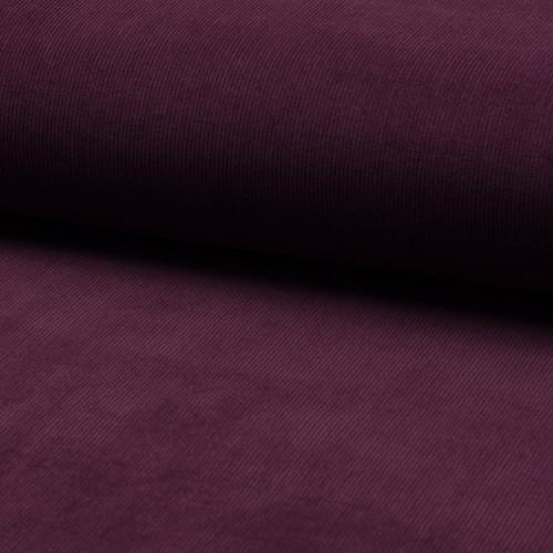 Tissu velours côtelé 100% coton violet aubergine
