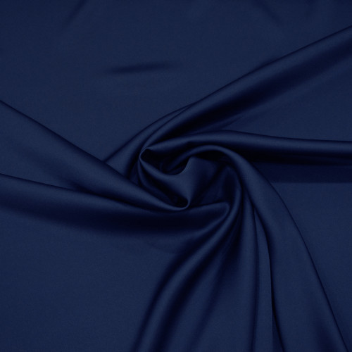 Light navy blue satin cady crepe fabric