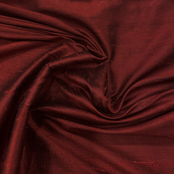 Tissu doupion de soie indien flammé 100% soie bordeaux