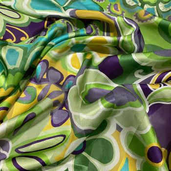 Printed silk chiffon fabric floral with satin bands
