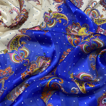 Printed silk chiffon fabric blue paisley with satin bands