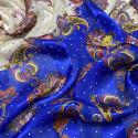 Tissu mousseline de soie imprimé bandes satin paisley bleu