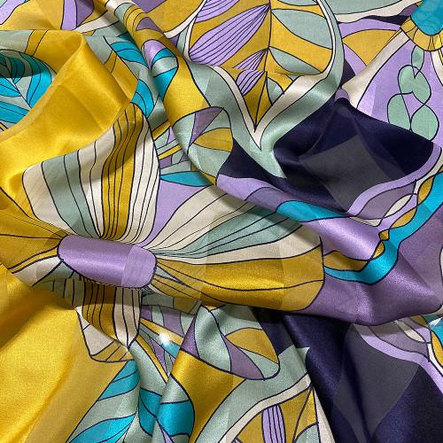 Tissu mousseline de soie imprimé bandes satin imprimé floral