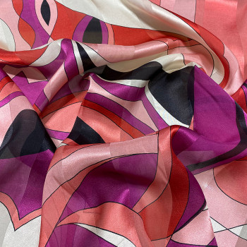 Printed silk chiffon fabric geometric with satin bands