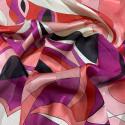 Tissu mousseline de soie imprimé bandes satin imprimé géométrique