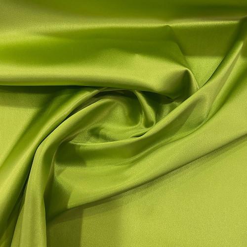 Tissu caddy crêpe envers satin stretch vert anis