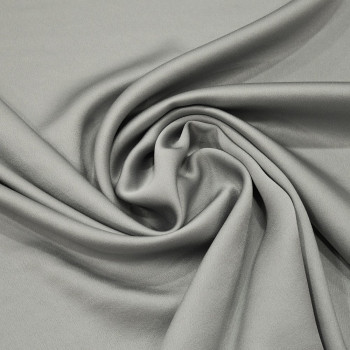 Pearl grey satin cady crepe fabric