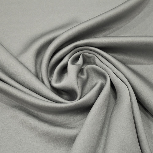 Tissu caddy crêpe envers satin gris