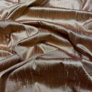 Tissu doupion de soie indien flammé 100% soie cognac