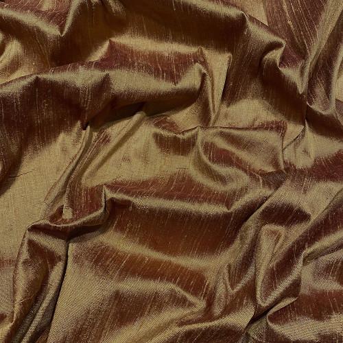 Tissu doupion de soie indien flammé 100% soie cuivre