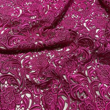 Chemical lace guipure fabric fuchsia