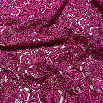 Chemical lace guipure fabric fuschia