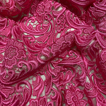 Chemical lace guipure fabric indian pink