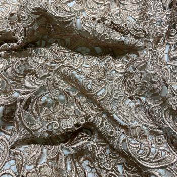 Tissu guipure beige or