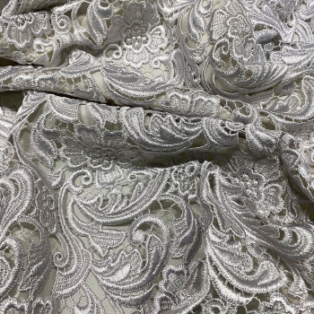 Chemical lace guipure fabric pearl grey