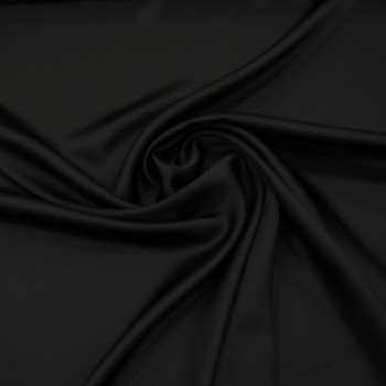 Black satin cady crepe fabric