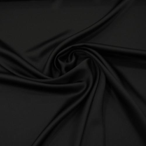 Black satin cady crepe fabric