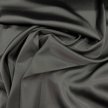 Steel grey stretch satin crepe caddy fabric