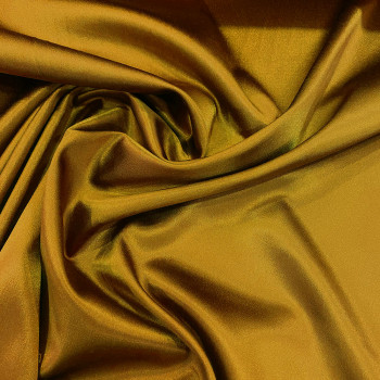 Ocher yellow stretch satin crepe caddy fabric