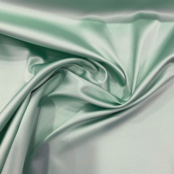 Nile green stretch satin crepe caddy fabric