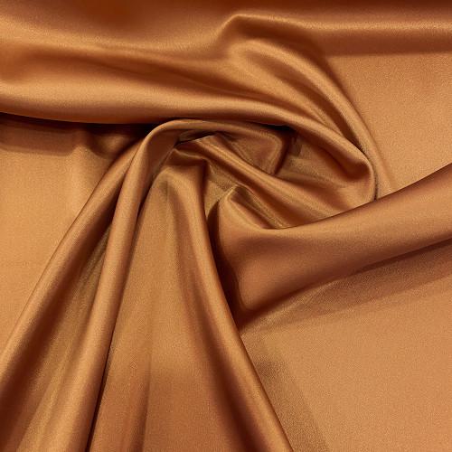 Caramel beige stretch satin crepe caddy fabric