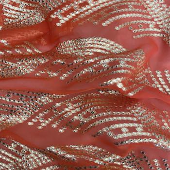 Tissu jacquard de soie tissé métal sur fond mousseline corail