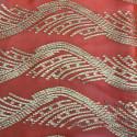 Tissu jacquard de soie métal sur fond mousseline corail or