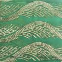 Tissu jacquard de soie métal sur fond mousseline vert anis