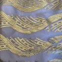 Tissu jacquard de soie métal sur fond mousseline lilas or
