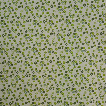 Cotton silk voile fabric printed small flowers green