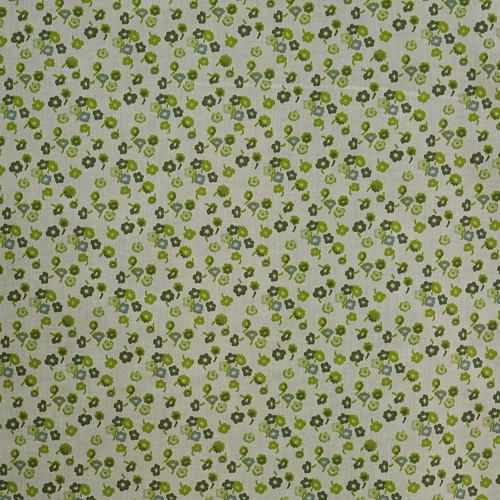 Tissu voile coton soie imprimé petites fleurs vert
