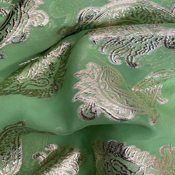 Tissu jacquard de soie tissé métal or sur fond mousseline vert anis