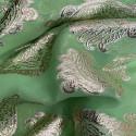 Tissu jacquard de soie métal sur fond mousseline vert anis or