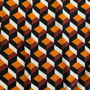 Twill fabric with rust geometric print 100% viscose