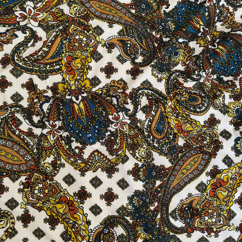 Twill fabric with orange paisley print 100% viscose