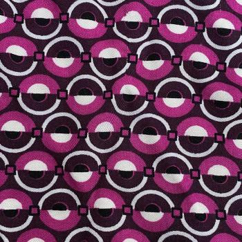 Tissu twill imprimé cercles fuchsia 100% viscose