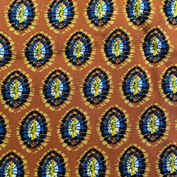Twill fabric with rust ethnic print 100% viscose