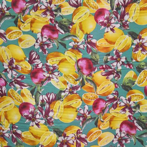 Tissu voile coton soie imprimé fruits citron