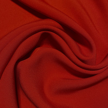 Carmine red satin cady crepe fabric