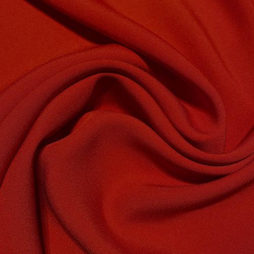 Carmine red satin cady crepe fabric